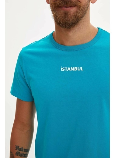 DeFacto Slim Fit Kısa Kollu T-shirt Turkuaz